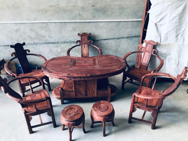 bàn ghế bán nguyệt gỗ Cẩm Lai