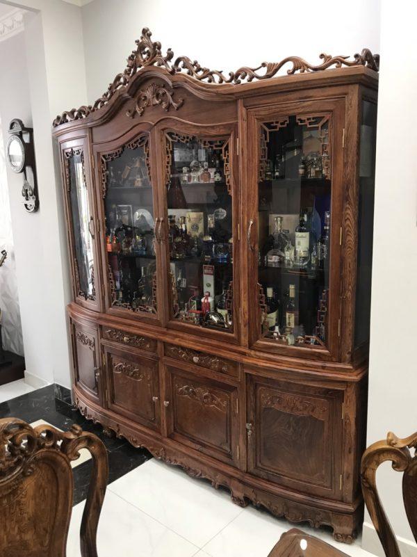 tủ rượu gỗ Cẩm chụp gócnghiêng