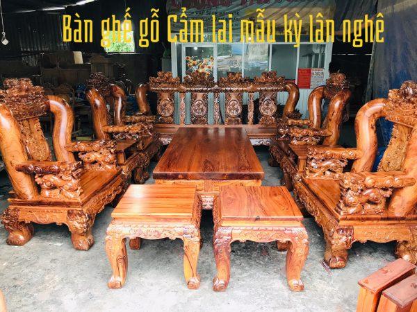 bàn ghế gỗ cẩm lai tay 18 đúc nghê