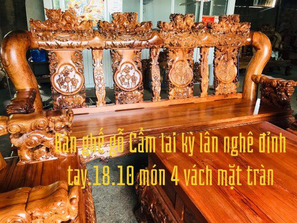 bàn ghế gỗ Cẩm Lai tay 18 10 món