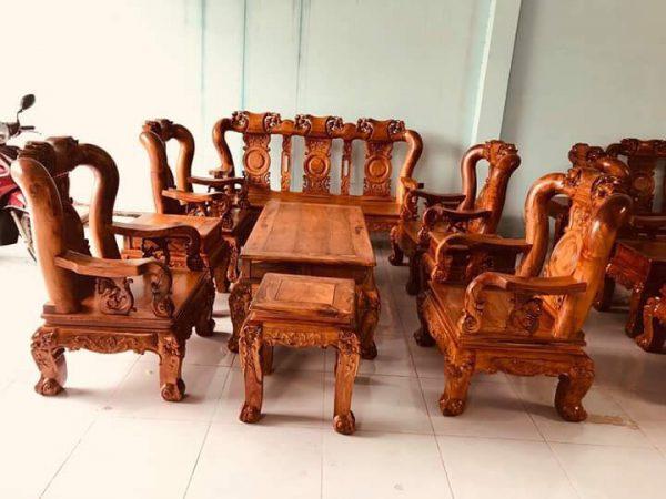 Tổng quan bộ bàn ghế đúc đào triện gỗ cẩm lai