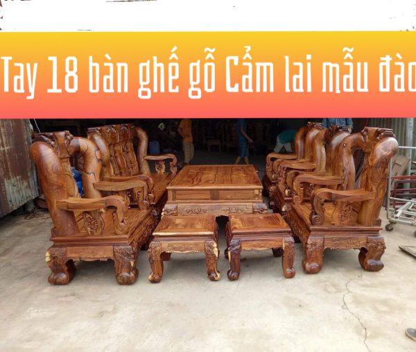 bàn ghế phòng khách gỗ Cẩm LAI TAY 18