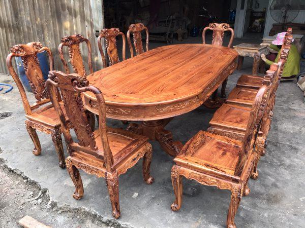 Hình ảnh bộ bàn ghế ăn gỗ Cẩm Lai 10 ghế