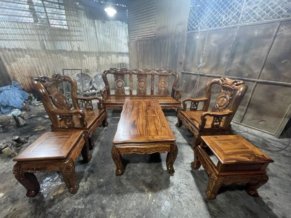 Tổng quan bộ Bàn ghế BỘ BÀN GHẾ PHÒNG KHÁCH GỖ CẨM LAI TAY 10, 6 MÓN BG 987